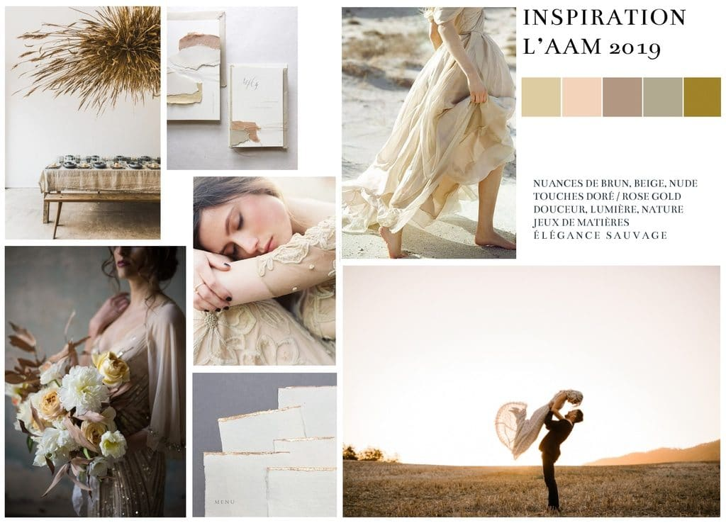 Moodboard mariage nude sauvage doré brun